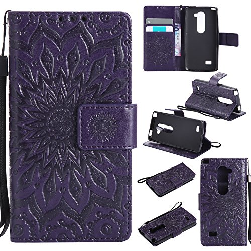 Price comparison product image LG Leon C40 Wallet Case,A-slim(TM) Sun Pattern Embossed PU Leather Magnetic Flip Cover Card Holders & Hand Strap Wallet Purse Case for LG Tribute 2/LS665/ Power L22C - Purple