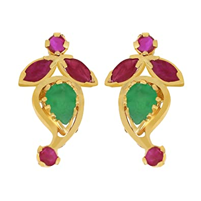 efa22ea6a Image Unavailable. Image not available for. Colour: Joyalukkas 22KT Yellow  Gold, Ruby and Emerald Stud Earrings ...