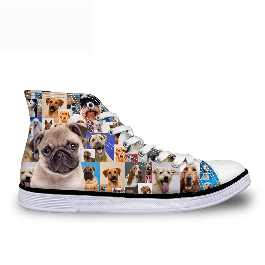FOR U DESIGNS Funny Pug Print High Top Canvas Fashion Sneaker For Women Lace Up US 9