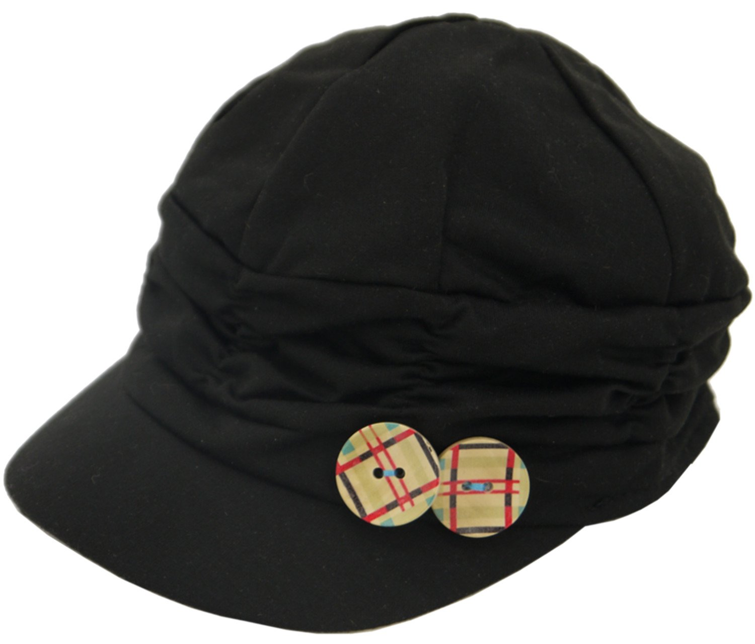 "Toki-Meki Princess Girl Fashion Army Cap Elastic Back (21-22"") w/Wood Button Charm Black & Deco"