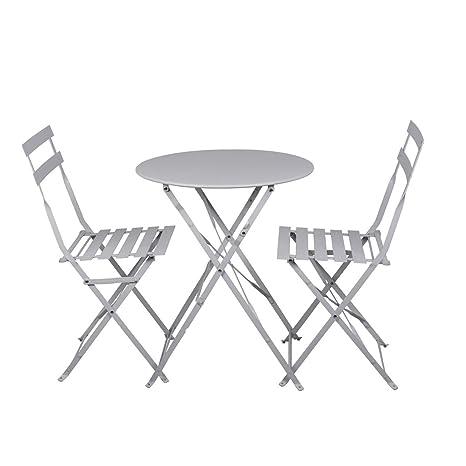 Set Tavolo E Sedie Balcone.Set Da Balcone Con Tavolo E Sedie Verniciato A Polvere Colore Bianco 3 Pezzi