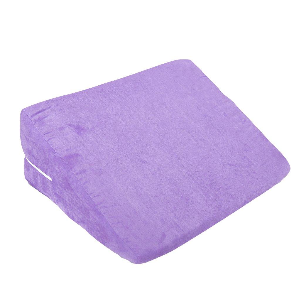 Healifty Bed Sleep Wedge Support Pillow Acid Reflux Leg Raiser Cushion (Purple)