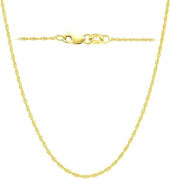 Amazon Com 14k Yellow Solid Gold Italian Diamond Cut 1 Mm Rope Chain Necklace Super Thin Lightweight Strong 14k Gold Chain Lobster Claw Clasp For Men Women With Free Gift
