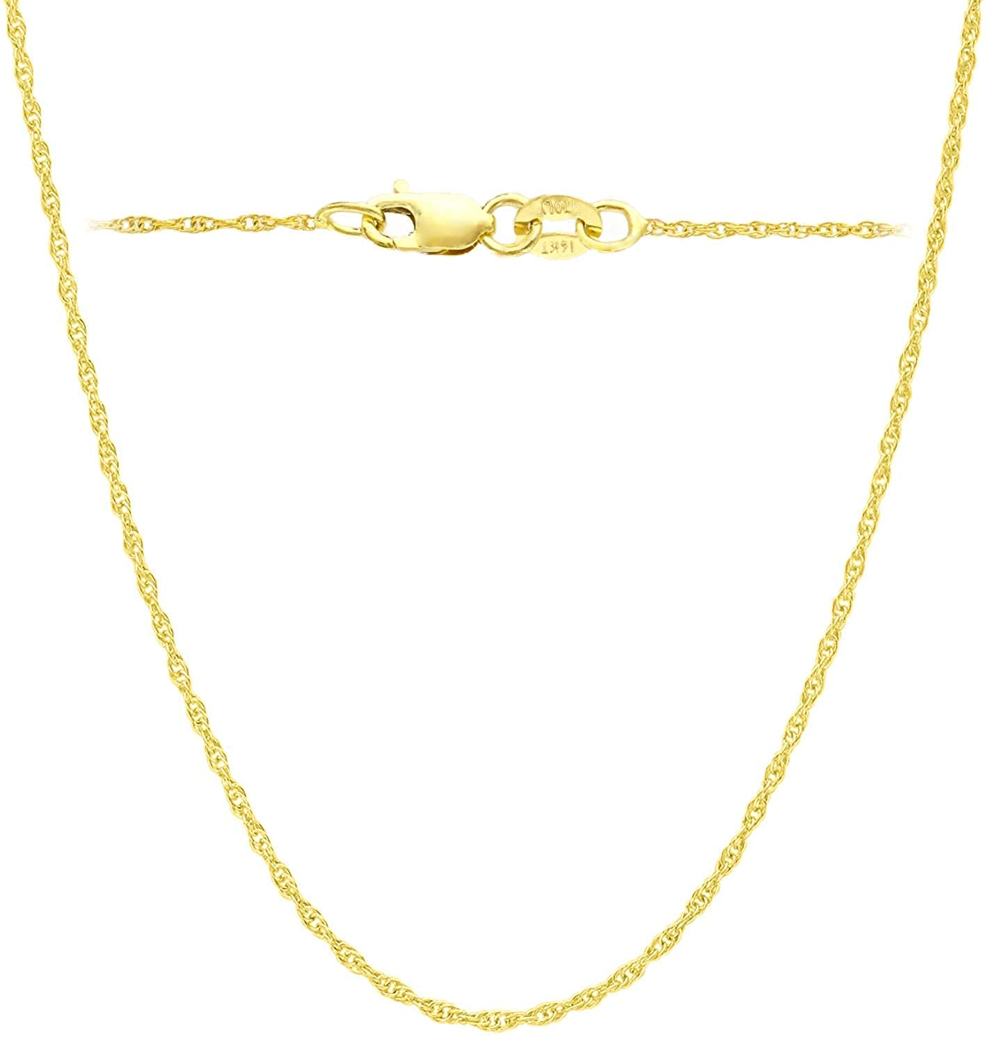14K Yellow or white Solid Gold Italian Diamond Cut 0.7mm Rope Chain Necklace Thin Lightweight Strong With Free 1