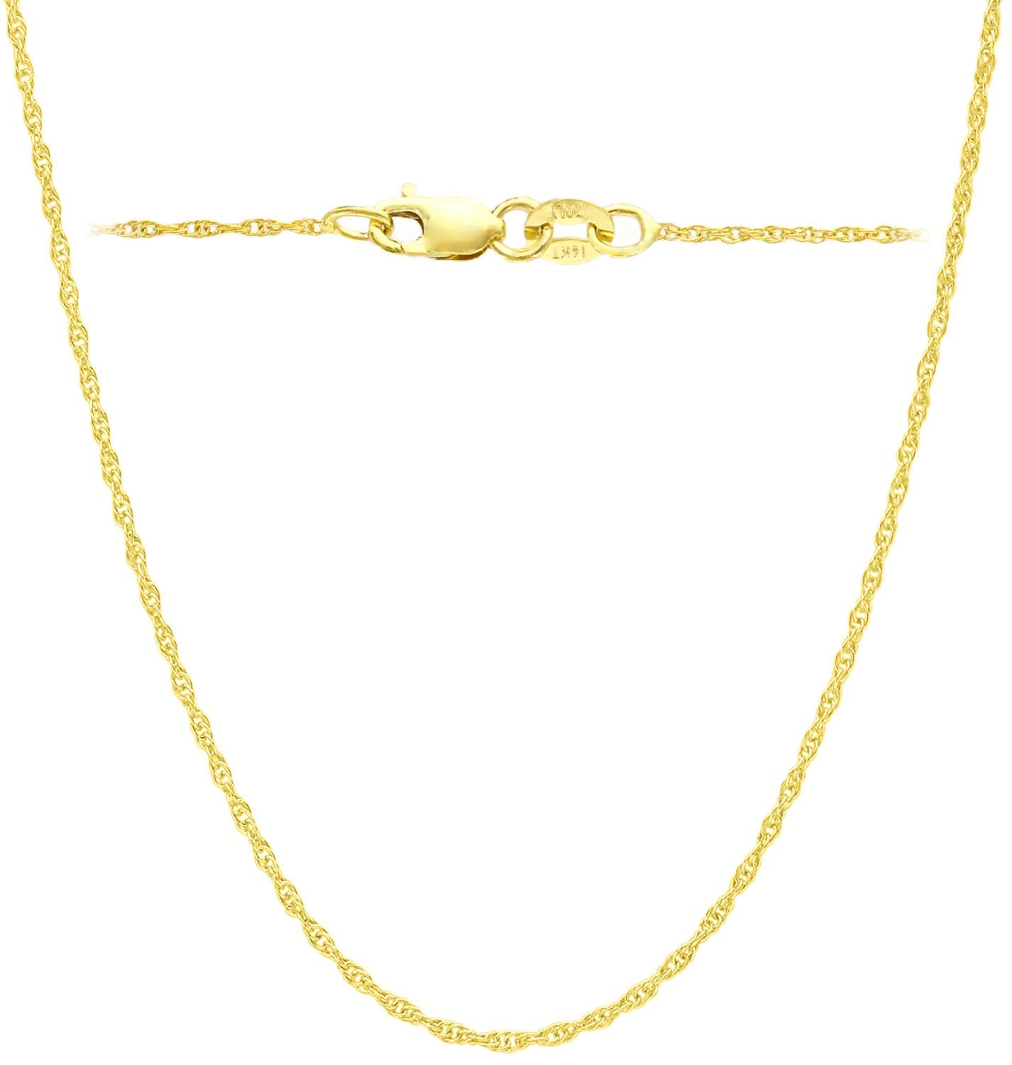 14K Yellow Solid Gold Italian Diamond Cut 1mm Rope Chain Necklace Thin Lightweight Strong (14, 16, 18, 20, 22, 24 or 30 inch) With 1'' extension(18 Inches Yellow-Gold ITALY)