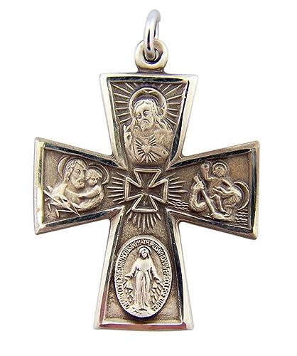 Sterling Silber vier Weg Medaille Gothic Stil Kreuz Anhänger, 1 3/40 ...