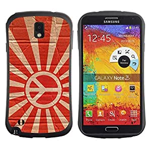 Hybrid Anti-Shock Bumper Case for Samsung Galaxy Note 3 / Rising Peace Sign