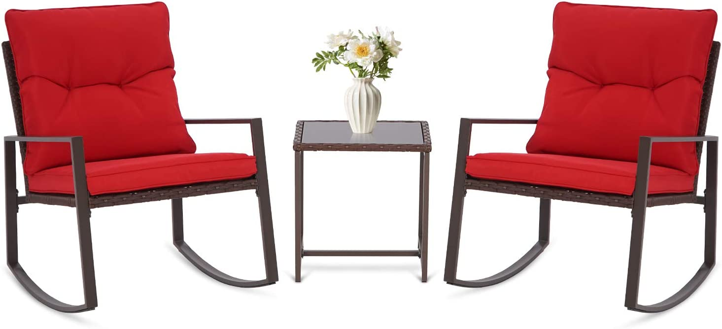 SUNCROWN Outdoor 3-Piece Rocking Bistro Set: Brown Wicker Furniture-Two Chairs with Glass Coffee Table (Red Cushion)