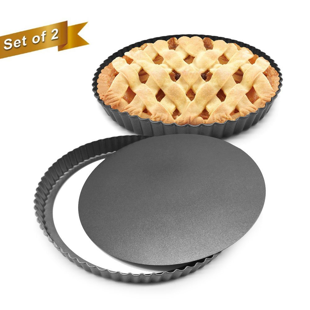 HOMOW Set of 2, Non-stick 11 inch Pizza Pan, Quiche Pan With Removable Bottom, Removable Loose Bottom Quiche Pan, Tart Pie Pan, Heavy Duty Pan NS-11-02