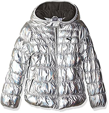 PUMA Little Girls' Puffer Coat, Silver/Metallic, 4 (Cheetah Print Pumas)