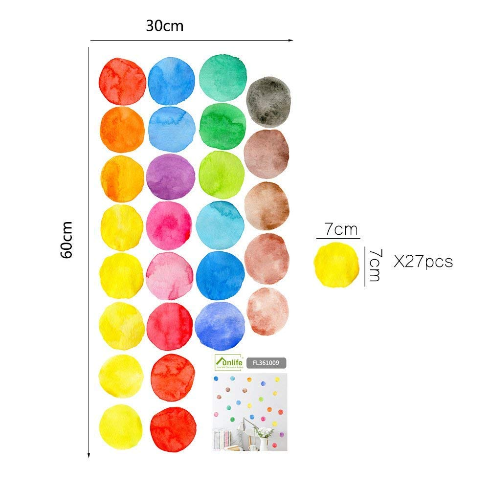 LiveGallery Removable Vinyl Dot Wall Stickers DIY Polka Dots Wall Decals Colorful Dot Wall Art Kids Room Wall Murals Peel Stick Decor Girls Bedroom Bathroom Baby Nursery Rooms 27PCS 2.75 Inch
