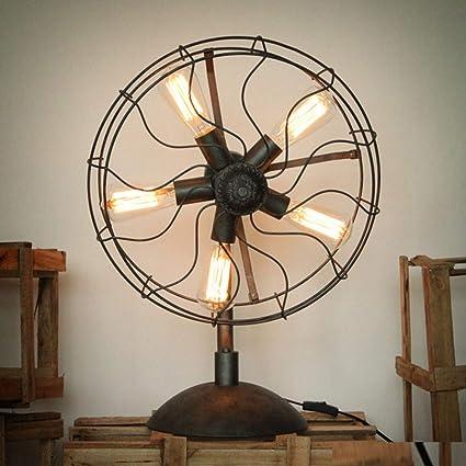 Ventilador Vintage Lámparas de mesa, iluminación industrial ...