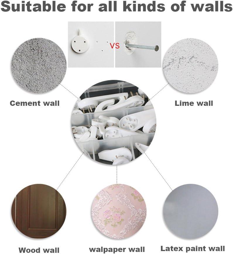 Eutenghao 43PCS invisibile immagine ganci titolari no Trace parete ganci Traceless Hook Hardwall Drywall per foto Multi funzione resistente pittura cornice gancio 15,9/kilogram, 6/tipi