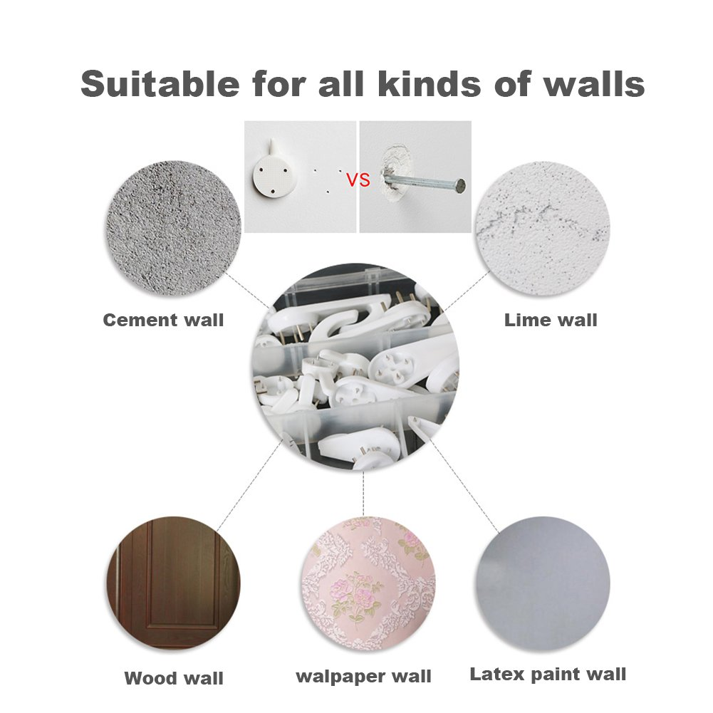 Amazon.com: EuTengHao 43Pcs Invisible Nail Screws Wall Hooks No Trace Picture Hangers Traceless Photo Hook Hardwall Drywall Picture Hooks Multi Function ...
