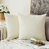 Decorative Pillow Cover - Pack of 2,Miulee Corduroy Soft Soild Decorative Square Throw Pillow Covers Set Cushion Case for Sofa Bedroom Car 18 x 18 Inch 45 x 45 Cm
