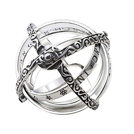 Openable Ring Astronomical Globe Ring Vintage Science Jewelry Silver