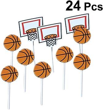 Amosfun 24 unids patrón de Baloncesto de Dibujos Animados Cake ...