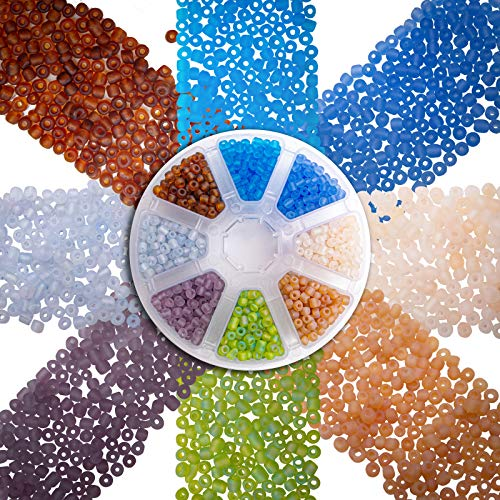 Over 1600 Frosted Sea Glass Look Seed Beads 6/0 for Jewelry Making Supplies for Adults - Blue Colors Czech Glass Beads for Bracelets, Necklaces, Crafts and DIY - 8 Color Bead Kit