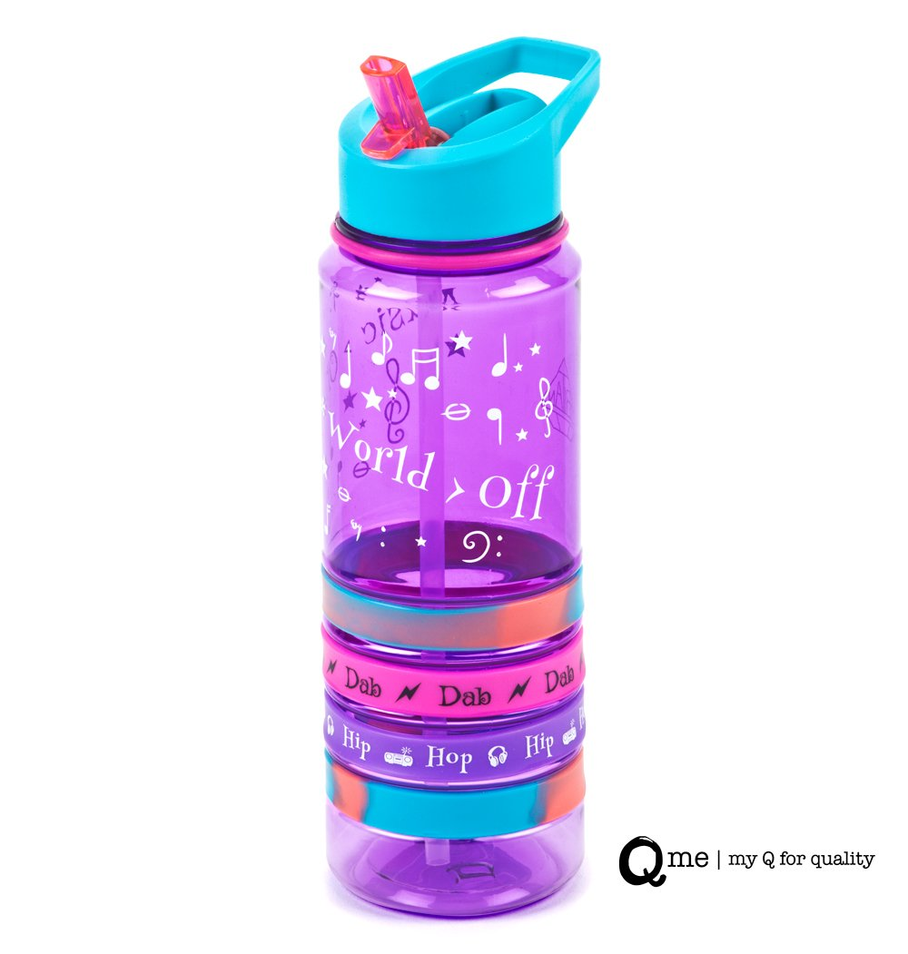 Q Me COOL BANDS Tritan Water Bottle Built-in Straw: Trendy Transparent Tumbler with 4 Silicone Wristbands Holds 25.4 Ounces PURPLE MUSIC ON WORLD OFF
