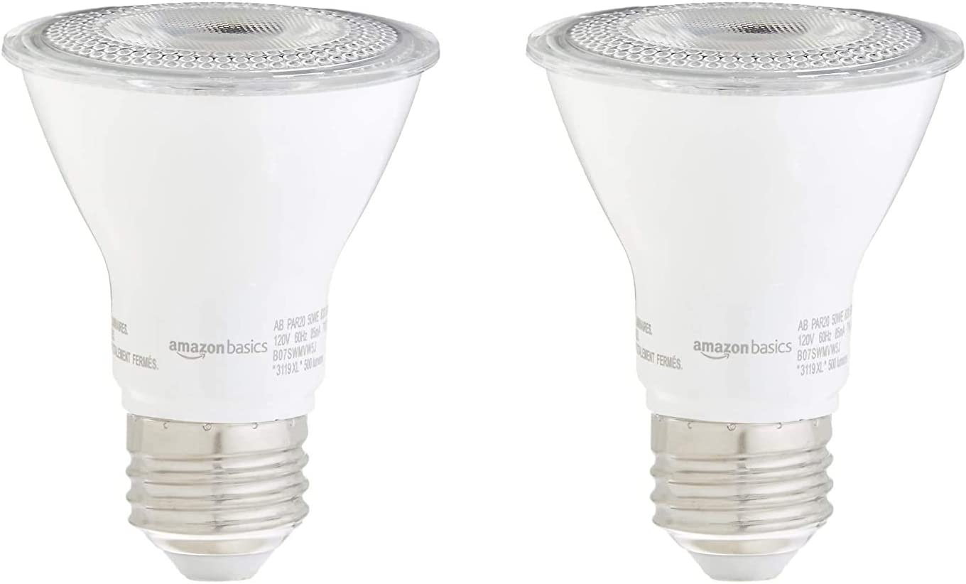 AmazonBasics 50W Equivalent, Warm White, Dimmable, 10,000 Hour Lifetime, PAR20 LED Light Bulb | 2-Pack