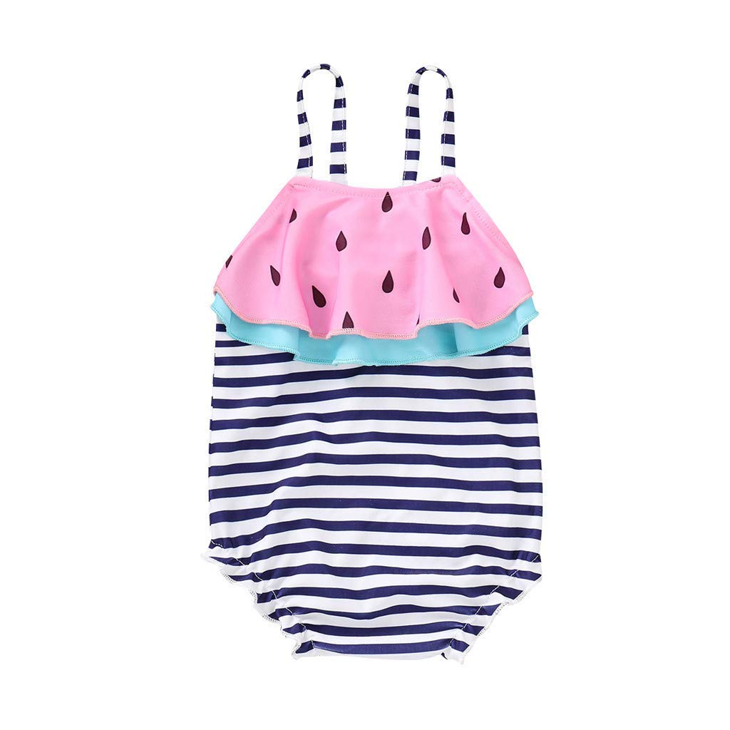 FCHICH Baby Girls Watermelon One Piece Swimsuit Kids Striped Print Beach Swimwear Bandage Ruffles Bikini Set
