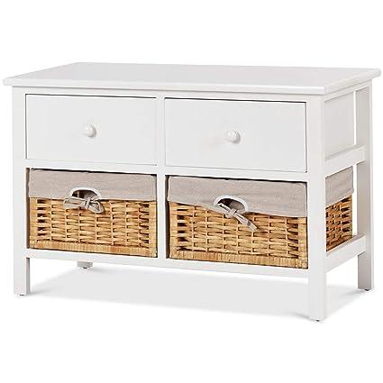 Giantex Storage Bench Wooden Storage Cabinet W 2 Wicker Rattan Baskets 2 Drawer Storage Organizer