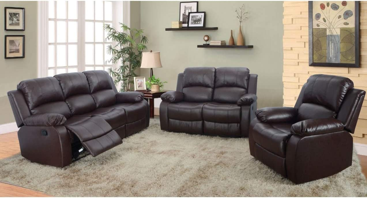 AYCP FURNITURE Leather Sofas for Living Room, 3pc Brown Vintage Reclining Sectional Sofa Set