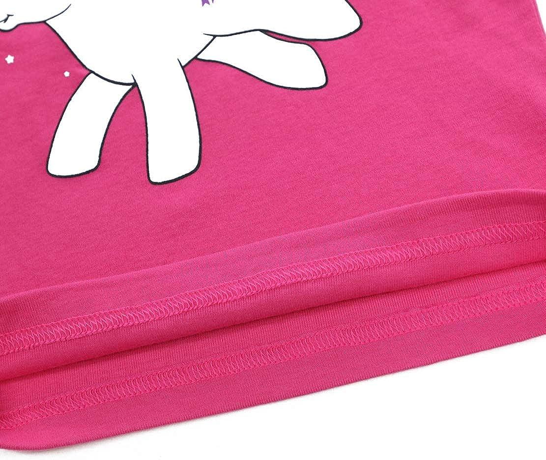 Pigiama Unicorno Bambina Cotone Abbigliamento Estivo Ragazza Manica Corta T Shirt e Pantaloncino Pigiami Due Pezzi