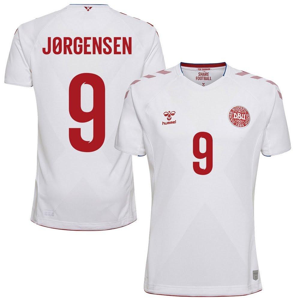 Hummel Dänemark Away Trikot 2018 2019 + Jørgensen 9 (Fan Style)