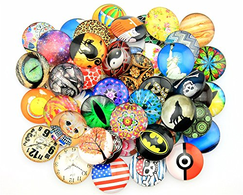 Glass Cabochon Photo - NEWME 40Pcs 25mm Dome Round Flat Back Random Mix Styles Photo Glass Dome Cabochons for Handmade DIY Jewelry Making