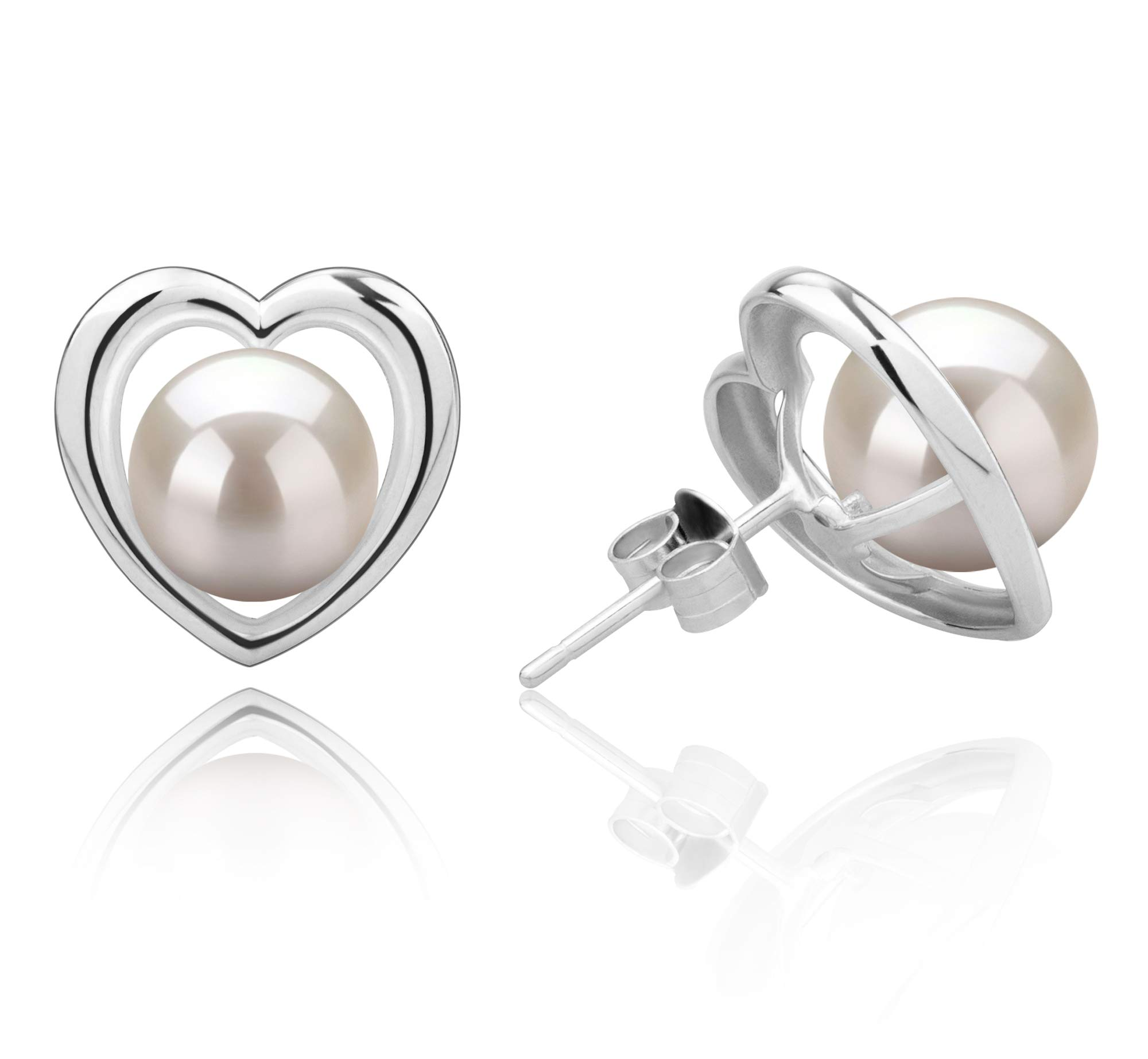 Kimberly-Heart White 8-9mm AAAA Quality Freshwater 925 Sterling Silver Cultured Pearl Earring Pair by PearlsOnly (Image #2)