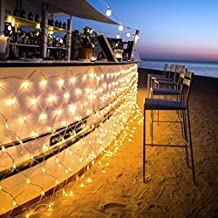 Ollny LED Fairy String Decorative Lights 200 LEDs Net Mesh Tree-wrap Lights 8 Modes Low Voltage for Christmas Wedding Garden Decorations Home Garden Warm White