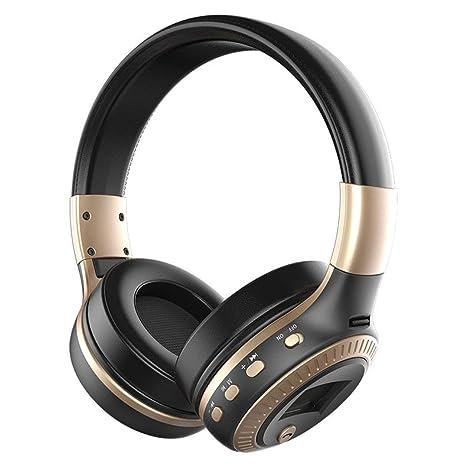 B19 Auriculares estéreo inalámbricos Bluetooth Pantalla LCD para Auriculares con micrófono y Radio FM (Color