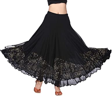 Falda Larga Cintura Elástica Bordado de Flores para Baile Flamenco ...