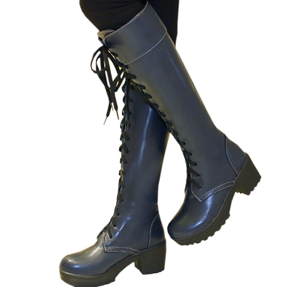 Partiss Damen Round Toe up Lace up Toe Zipper High-top PU Lolita Stiefel Lolita Stiefel Prinzessin Stiefel Schlupfstiefel Blau aeded6