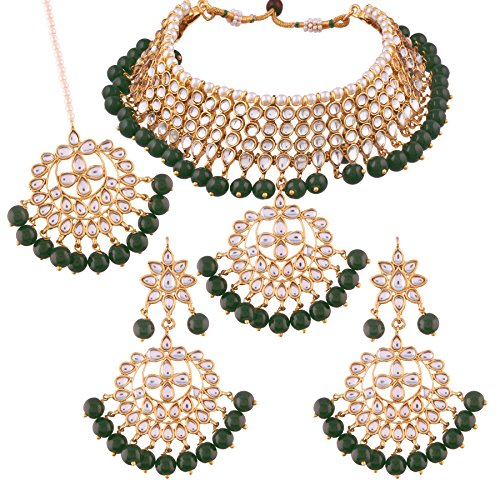 I Jewels Kundan & Pearl Choker Necklace Set for Women (K7058G) by I Jewels (Image #4)