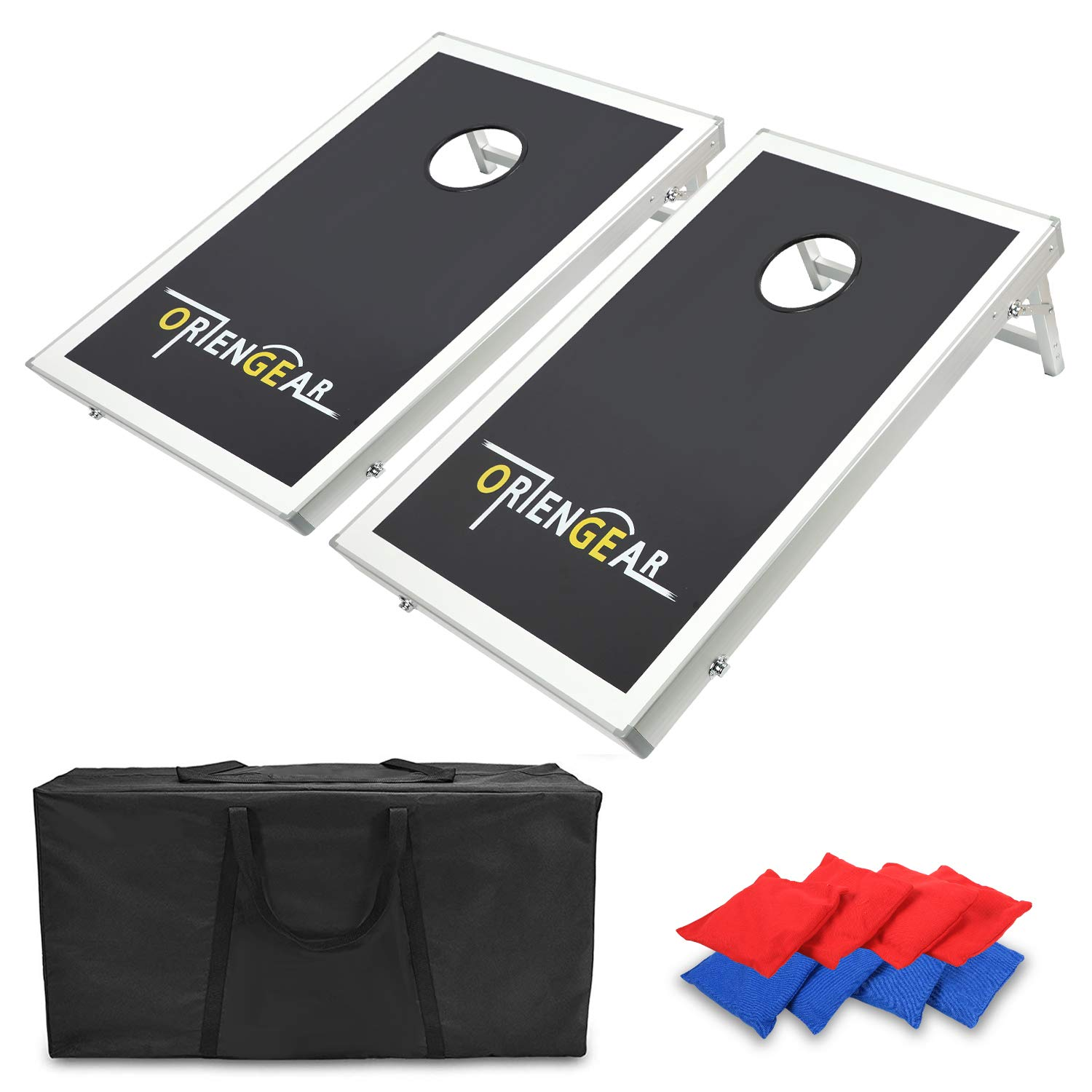 ORIENGEAR 3x2' Portable Cornhole Game Set Bean Bag Toss Game with 8 Bean Bags Carrying Case Aluminum Frame MDF Board by ORIENGEAR