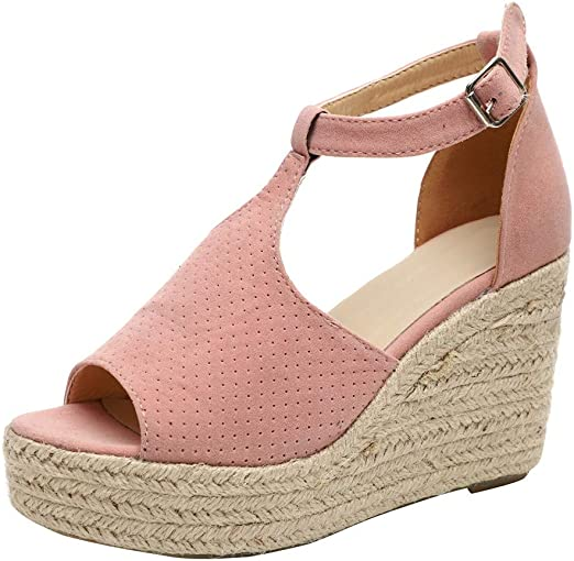 Fashion Women Buckle Ankle Strap Casual Wedge Sandals Ladies Peep Toe Shoes Size
