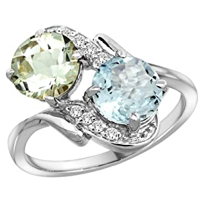 14k White Gold Diamond Natural Green Amethyst & Aquamarine Mother's Ring Round 7mm, size 10