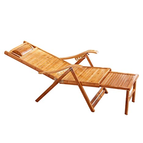 Tumbonas LHA Ocio Sillas de terraza de bambú Sillones reclinables ...
