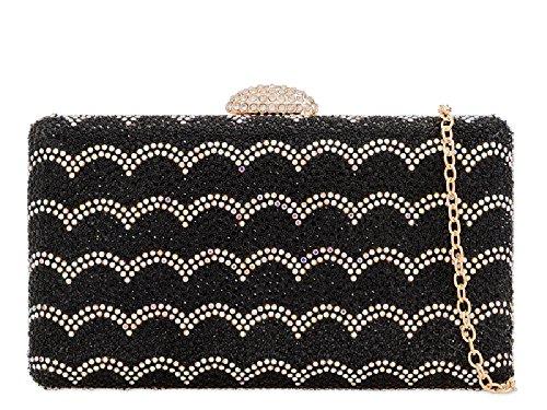 Purse Box Chips KY2204 Women's Glittery Handbag Black Bag Glitter Ladies Clutch Diamante gz1xqqwa