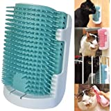 iHOO Cat Self Groomer Wall Corner Massage Comb Grooming Brush Soft Rubber Bristles Kitten Massager Tool Fit for Flat Wall Corner Cage and Hand Hold,Blue