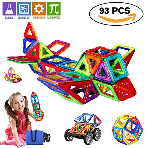 Magnetic Blocks, Magnetic Tiles for Kids, Magnetic Building Blocks Set Educational Toys for Boys and Girls (93 Piece)