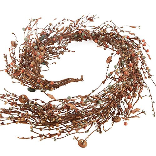- 57 Inch Long Handwrapped Orange, Caramel, and Sage Mixed Berry and Wood Button Garland for Home Decor, Displaying and Creating