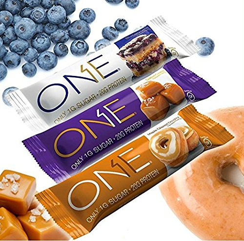 ONE Bar Protein 12 bars Variety Pack - Glazed Donut , Blueberry Cobbler , Salted Caramel (Variety)