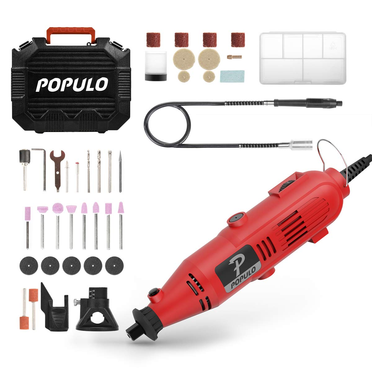 Variable Speed Flex Shaft and Universal Collet for Abrasive Polish Populo High Performance Rotary Tool Kit with 107 Accessories Cutting Drilling and Crafting DIY Project 3 Attachments Engraving