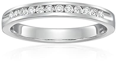 73e74b97af2a7 14k White Gold and Diamond Anniversary Ring (1/4 cttw HI Color, SI2-I1  Clarity), Size 7