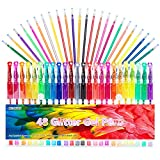 Glitter Gel Pens Set 24 Colored Glitter Pen with 24 Refills for Adult Coloring Books Craft Drawing Doodling, 40% More Ink