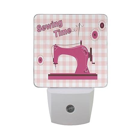 LEDVIE Pink Vintage Sewing Machine Plug In Dusk To Dawn Light Sensor Inspiration Sewing Machine Plug