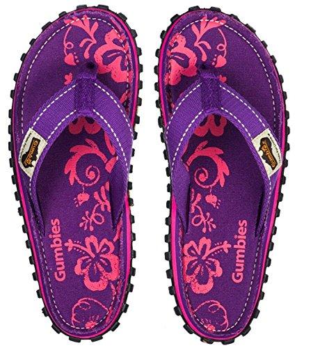 Gumbies Sandalias Unisex Chanclas Hibiscus Morado